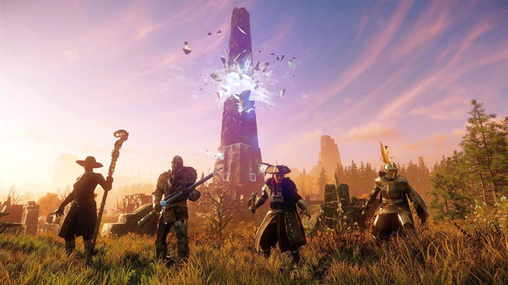 Четыре персонажа MMORPG New World перед восходом солнца и разрушающимся обелиском
