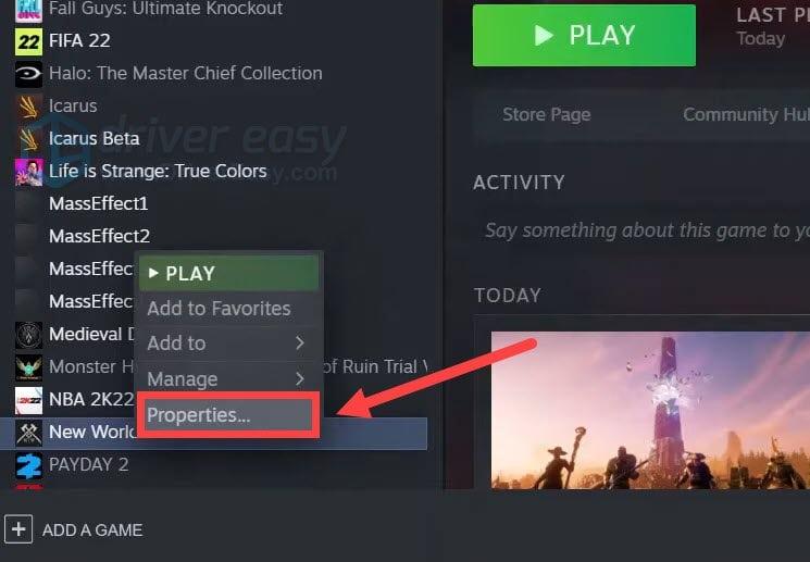 New World - проверка целостности файлов в Steam