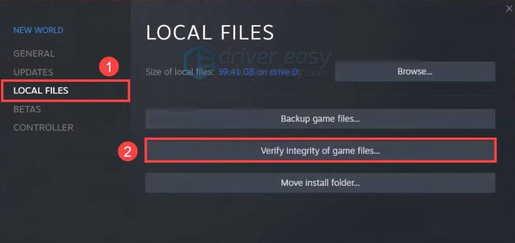 Проверка целостности файлов new world