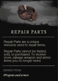 Repair parts - запасные части в New World